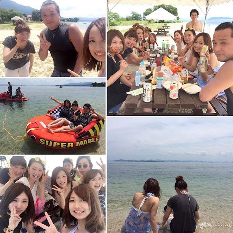 毎年夏は琵琶湖の会員制ビーチへ、希望するスタッフを順番に招待し、家族ぐるみで思い切り休日を楽しむ。「Happiness」は、代表とスタッフとの距離が近いのが特徴だ
